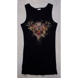 No Boundaries Long Tank Peace/Love Logo